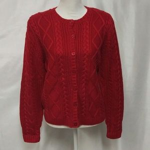 Karen Scott Red Button Down Cable Cardigan Sweater
